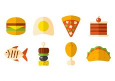 Free vector Free Fast Food And Snack Icons Vector #19420