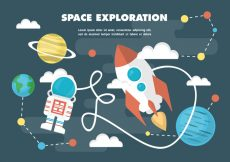 Free vector Free Flat Space Vector Illustration With Space Ship #19203