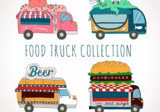 Free vector Fun collection of hand drawn food trucks #20725