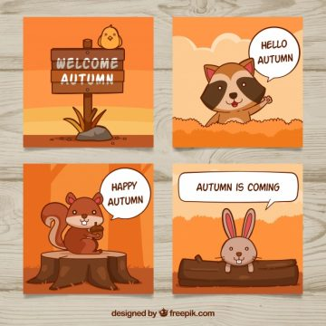 Free vector Fun pack of autumn cards with animals #22879
