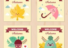 Free vector Fun set of autumnal cards with smiley faces #22703