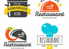 Free vector Fun set of flat restaurant logos #19178