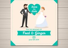 Free vector Fun wedding invitation with happy couple #21862