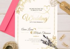 Free vector Golden wedding invitation in vintage style #22060
