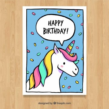 Free vector Greeting card with unicorn and confetti #19663