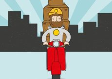 Free vector Hand drawn deliveryman with beard and boxes #21434