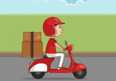 Free vector Hand drawn deliveryman with lovely style #21432