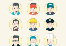 Free vector Hand drawn male avatars with circles #22275