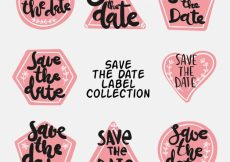 Free vector Hand drawn pack of wedding labels #22513