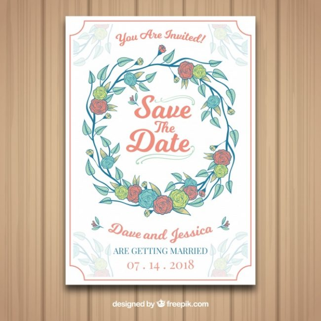 Free vector Hand drawn wedding card with colorful roses #22409