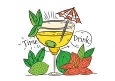 Free vector Hand drawn Yellow Cocktail Drink With Lime And Flower #20434