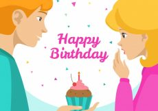 Free vector Happy birthday background of boy with a cupcake #19892