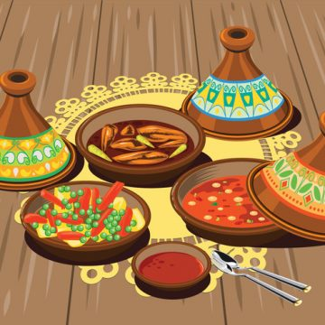 Free vector Illustration of Sambal Chicken Tajine Served with Olives and Vegetable Tajine with Rice and Tomato Sauce #20318
