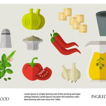 Free vector Italian Food Ravioli Ingredients Vector Flat #20298