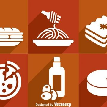 Free vector Italian Food White Icons #20294