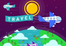 Free vector Landscape background in flat design with airplanes #21822