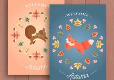 Free vector Lovely autumn cards with fox and squirrel #22909