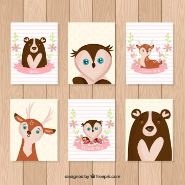 Free vector Lovely pack of cards with hand drawn animals #20465