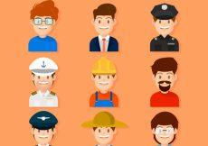 Free vector Lovely pack of male workers avatars #22107