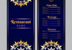 Free vector Luxury menu template with golden ornaments #19471