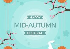 Free vector Middle autumn festival, blue background #21706
