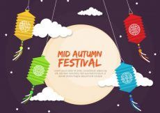 Free vector Middle autumn festival, full moon with four lanterns #21766