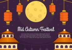 Free vector Middle autumn festival, orange lanterns #21778
