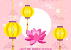 Free vector Middle autumn festival, pink background #21710