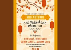 Free vector Middle autumn festival, poster with a yellow frame #21788