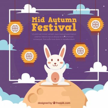 Free vector Middle autumn festival, purple bottom with a rabbit #21768