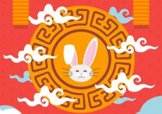 Free vector Middle autumn festival, red background with an ornamental frame #21770