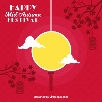 Free vector Middle autumn festival, red background #21774
