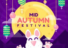 Free vector Middle autumn festival, scene with a happy rabbit #21784