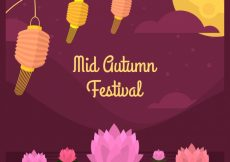 Free vector Middle autumn festival, scene with flowers #21736