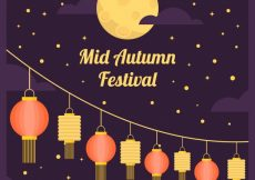 Free vector Middle autumn festival, scene with lanterns and full moon #21738