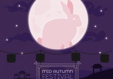 Free vector Middle autumn festival, scene with pink moon and a rabbit #21720