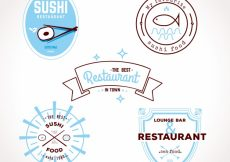 Free vector Modern collection of flat restaurant logos #19188