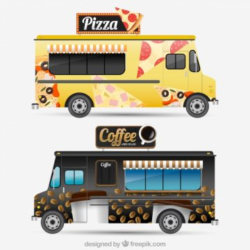 Free vector Modern food trucks with realistic desing #20723
