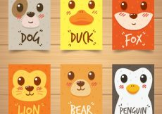 Free vector Modern pack of cards with animal faces #20455