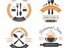Free vector Modern pack of restaurant logo with vintage style #19019