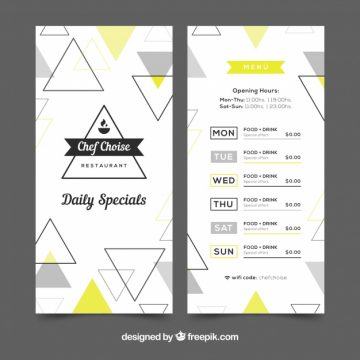 Free vector Modern restaurant menu with triangles #22779
