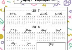 Free vector Modern school calendar with colorful style #21992