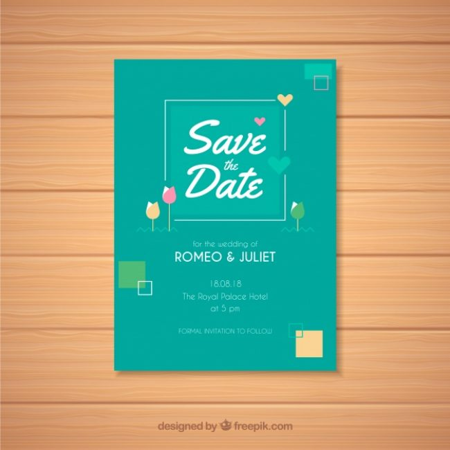 Free vector Modern wedding card with flat design #22415