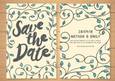 Free vector Modern wedding card with hand drawn leaves #22605