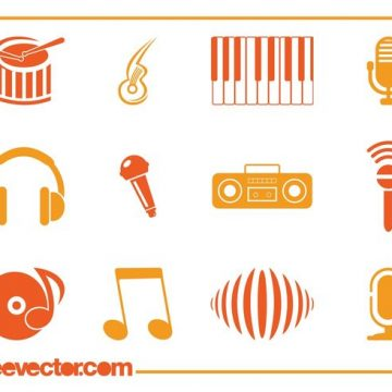 Free vector Music Icons Vectors #22396