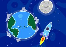 Free vector Nice background of hand drawn earth with moon and rocket  #20112