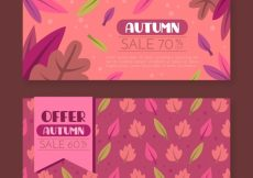 Free vector Offers banners for autumn, pink color #21638