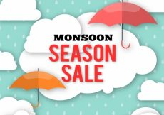 Free vector Offers of monsoon sales with umbrella and clouds in flat design #20255
