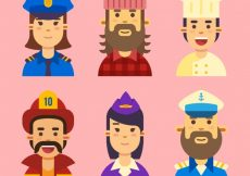 Free vector Pack of avatars with traditional jobs #22241