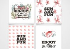 Free vector Pack of beautiful watercolor summer cards #21540